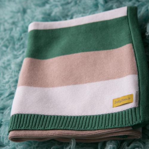 Green stripey organic cotton blanket