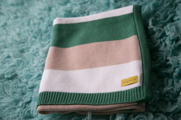 Green stripey organic cotton blanket