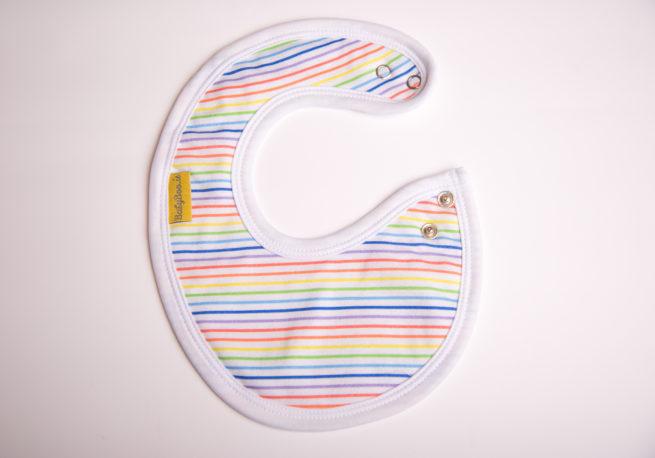 Rainbow stripes littleboo newborn bib