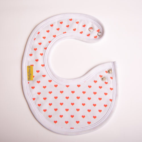 Red hearts littleboo newborn bib