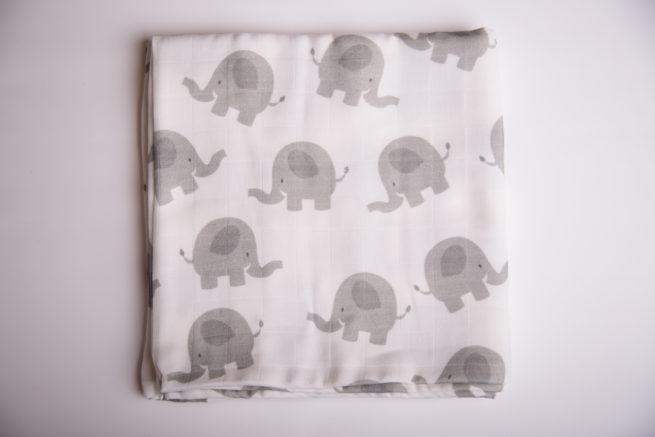 White Ellie elephant super square organic cotton muslin