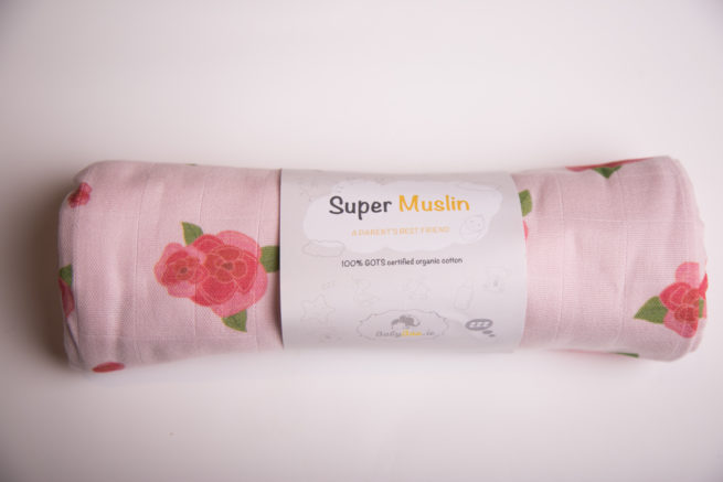 Pink roses super square organic cotton muslin