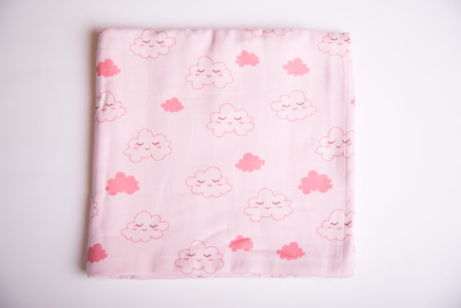 Pink sleepy clouds super square organic cotton muslin