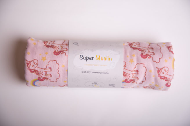 Pink unicorns super square organic cotton muslin