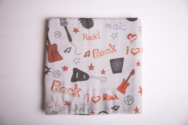 Grey rockstar super square organic cotton muslin