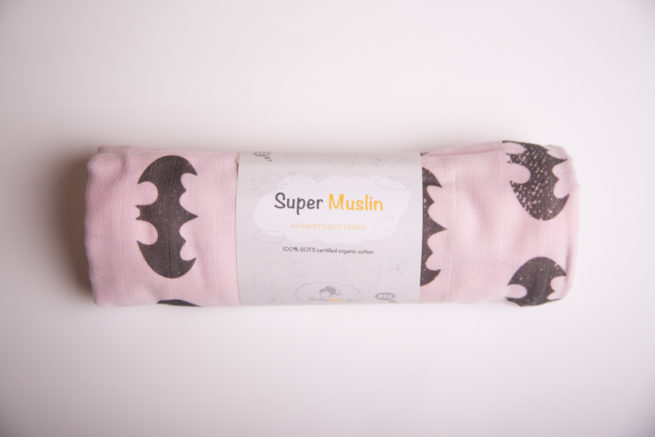 Pink batman super square organic cotton muslin