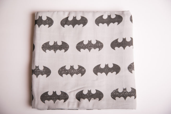 Grey batman super square organic cotton muslin