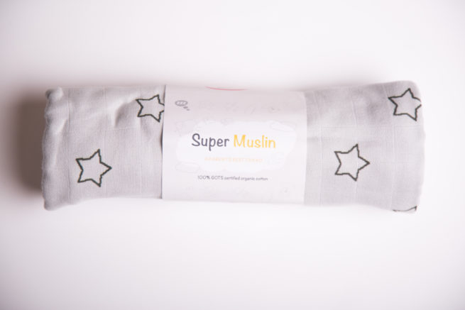 Grey stars super square organic cotton muslin