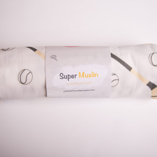 White hurling fan super square organic cotton muslin