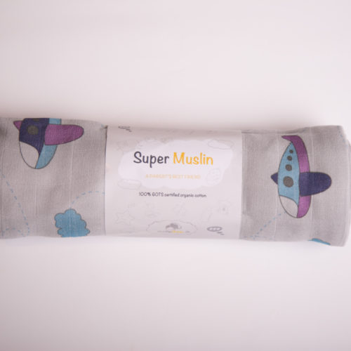 Grey planes super square organic cotton muslin