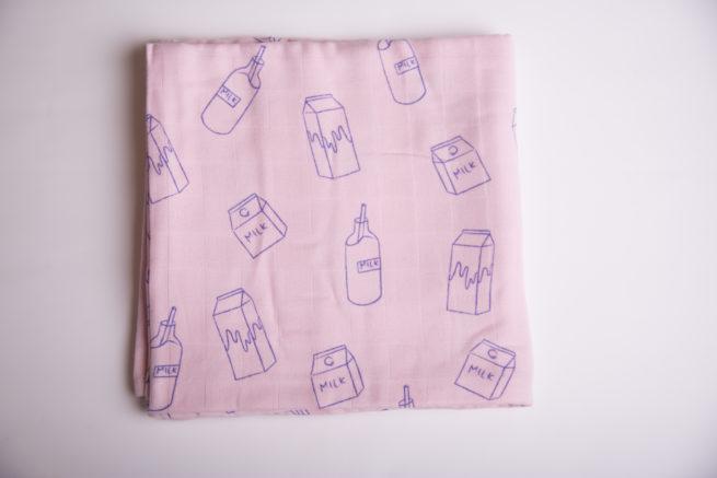 Pink milk addict super square organic cotton muslin
