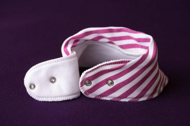 Plum stripes organic cotton bandana bib