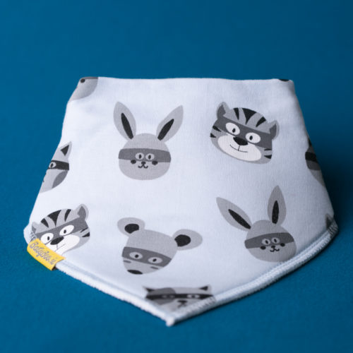 Superhero animals organic cotton bandana bib