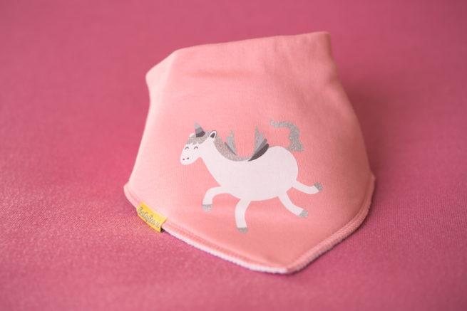 Glittery unicorn organic cotton bandana bib