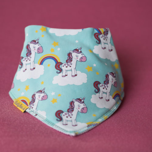 Mint unicorns organic cotton bandana bib