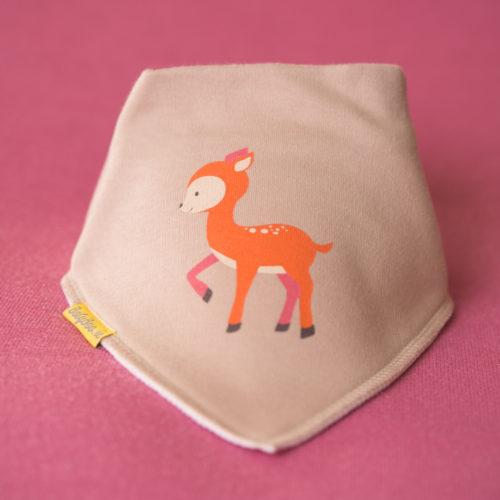 Fawn deer organic cotton bandana bib