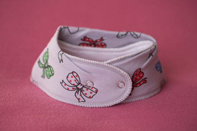 Grey ribbons organic cotton bandana bib