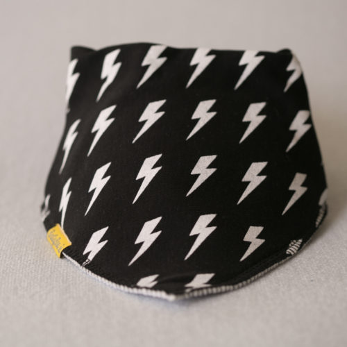 Monochrome bolts organic cotton bandana bib