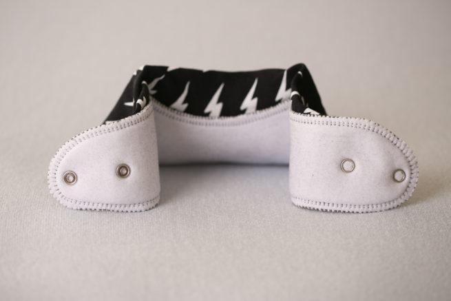 Monochrome bolts organic cotton bandana bib