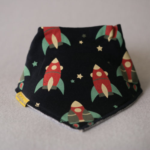 Retro rockets organic cotton bandana bib