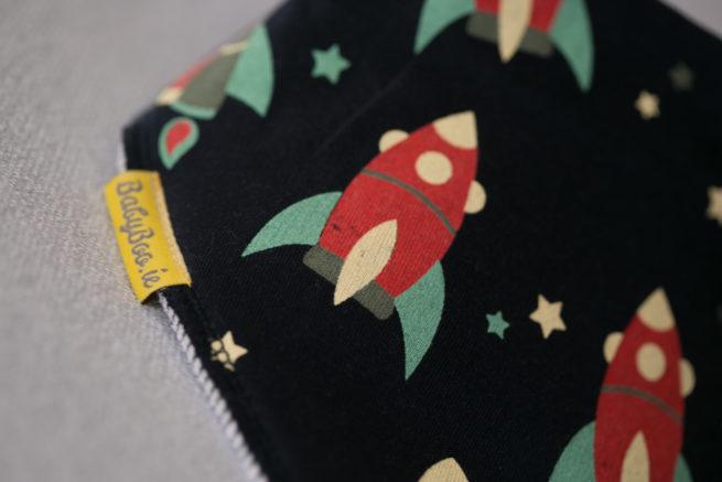 Retro rockets organic cotton bandana bib