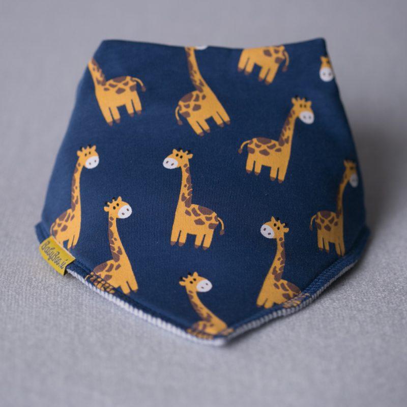 Navy Giraffes organic cotton bandana bib