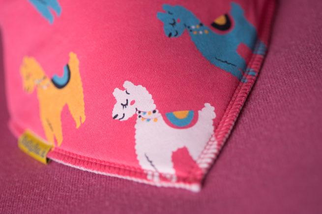Pink llamas organic cotton bandana bib