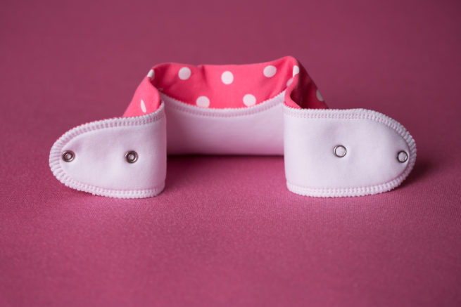 Pink polka organic cotton bandana bib