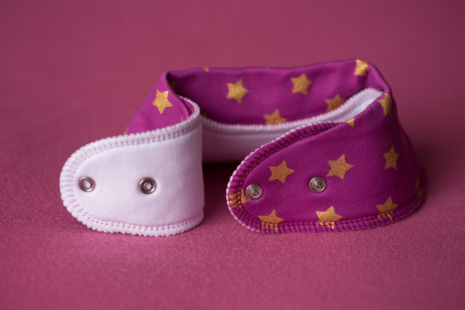 Plum with gold stars organic cotton bandana bib