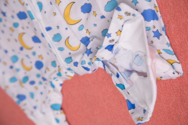 Moon and stars organic cotton snuggleboo sleepsuit