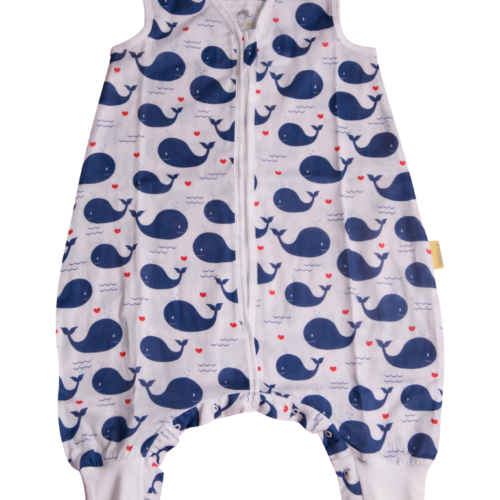 Whales summer sleepsuit