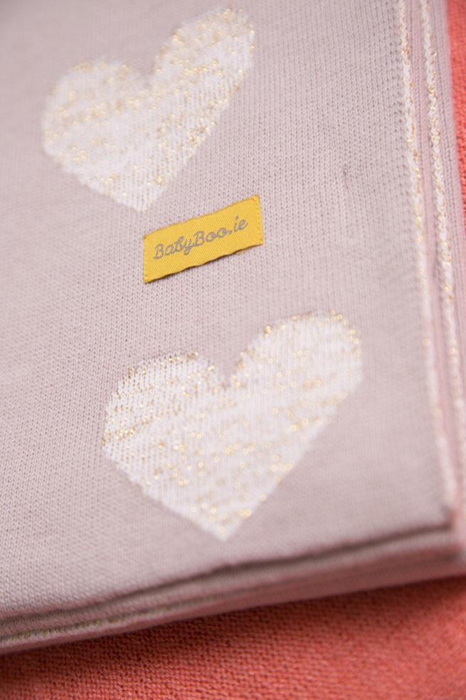 Gold hearts organic cotton blanket