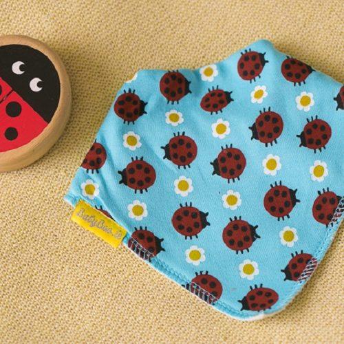 Turquoise ladybirds dribbleboo bandana bib