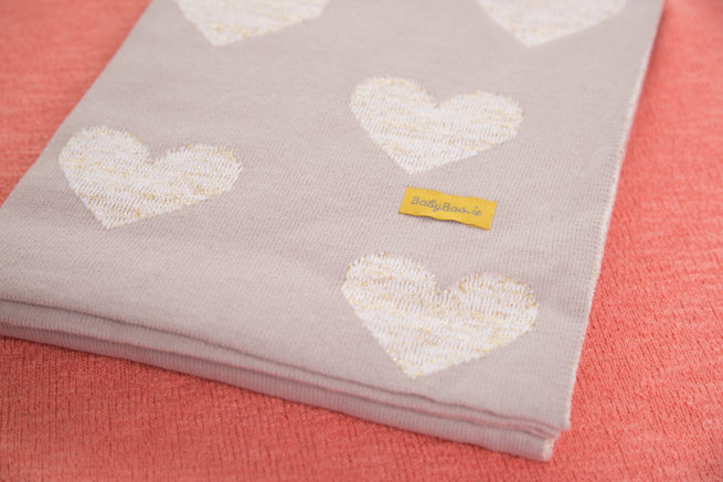 Gold hearts organic cotton BlankieBoo blanket