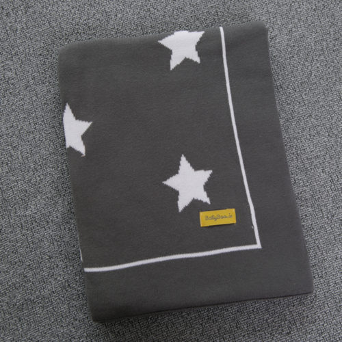 Grey stars organic cotton BlankieBoo blanket