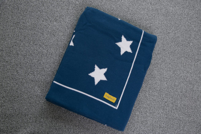 Navy stars organic cotton BlankieBoo blanket