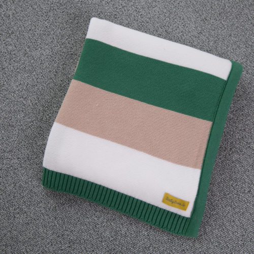 Green and taupe stripes organic cotton BlankieBoo blanket
