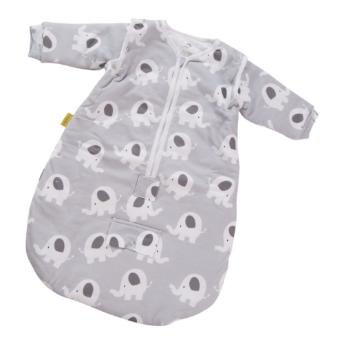 Grey ellie elephant organic cotton SnuggleBoo sleeping bag
