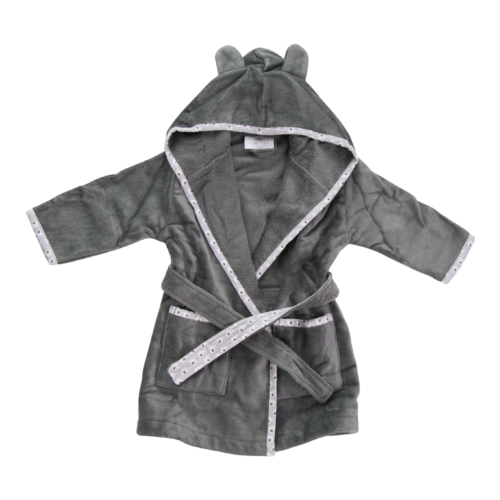 Grey ellie elephant organic cotton cozyboo robe