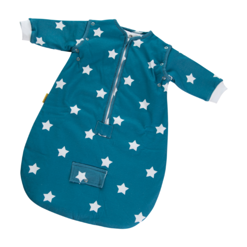 Teal stars SnuggleBoo sleeping bag - organic cotton