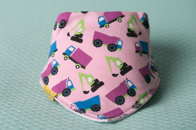 Pink trucks bandana bib