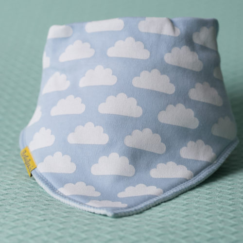 Blue clouds bandana bib