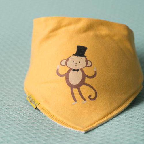 Yellow monkey bandana bib