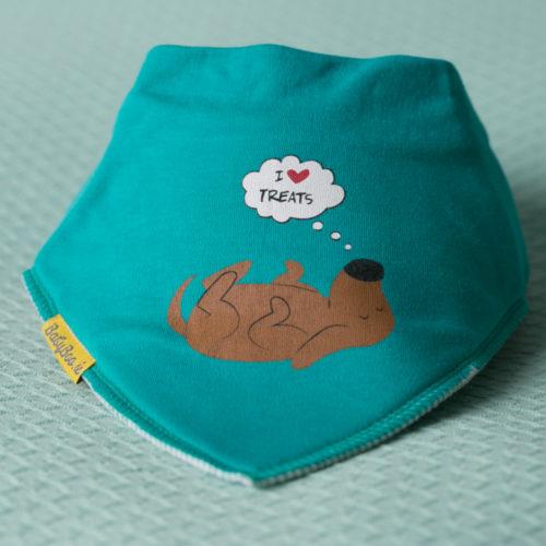 Teal doggie treats bandana bib