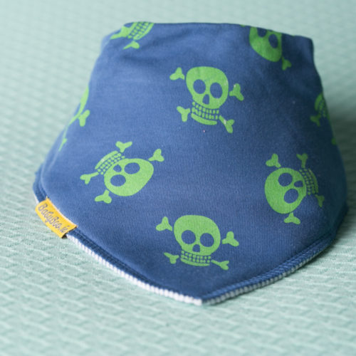 Navy with lime green skulls organic cotton DribbleBoo bandana bib