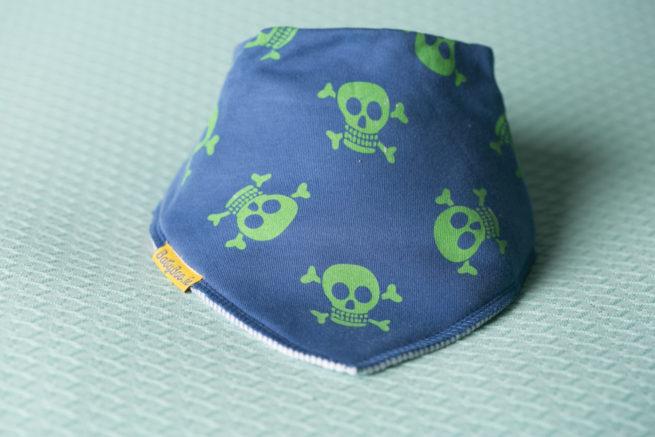 Navy with lime green skulls organic cotton DribbleBoo bandana bib