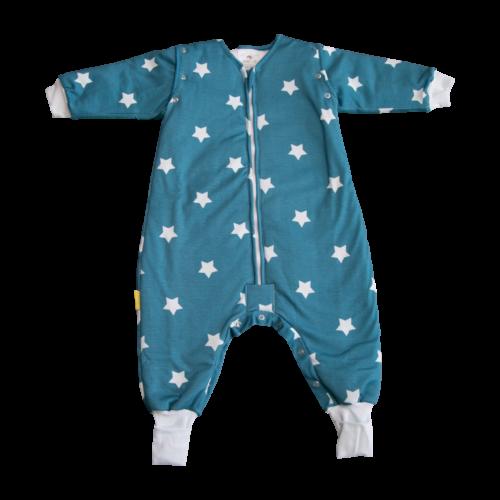 Teal stars organic cotton SnuggleBoo sleepsuit