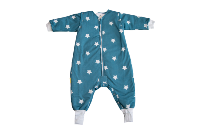 Teal stars organic cotton SnuggleBoo sleepsuit