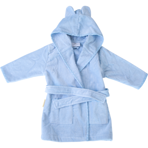 Baby blue with white stars organic cotton CozyBoo robe