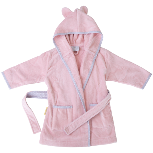 Blush pink with grey stars organic cotton CozyBoo robe